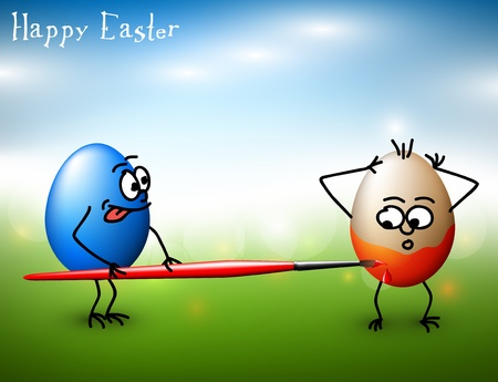 Vector Funny colorful easter eggs - Happy Easter Card