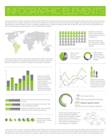 prospects: Big Vector set of Infographic elements for your documents and reports (light green version) Illustration