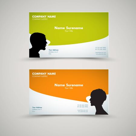 flexible woman: Vector Set of modern business card templates for man and woman Illustration
