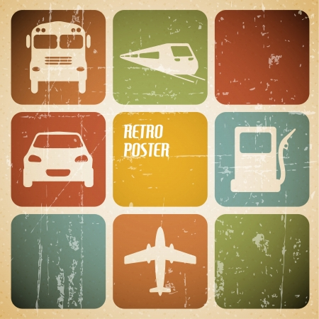 Vector vintage transport (traffic) poster with place for your text Vector
