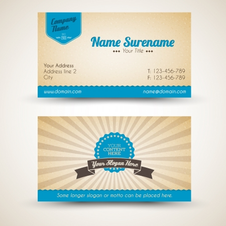 business card layout: Vector old-style retro vintage business card - both front and back side