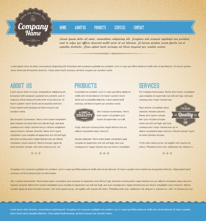 web site design template: Retro vintage grunge web page template - blue version