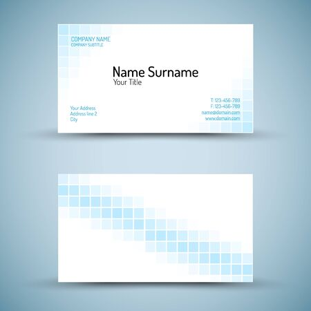 flexibility: Set of modern vector business card template - front and mack side Illustration