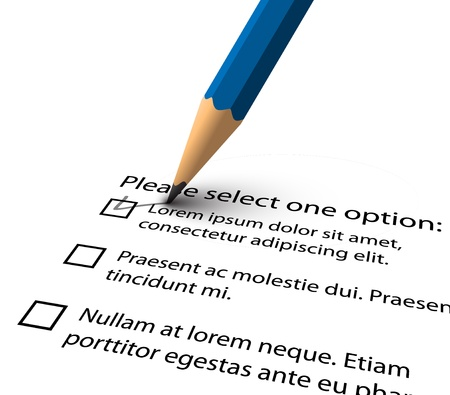 filling: Pencil filling up the questionnaire on white paper - vector illustration Illustration