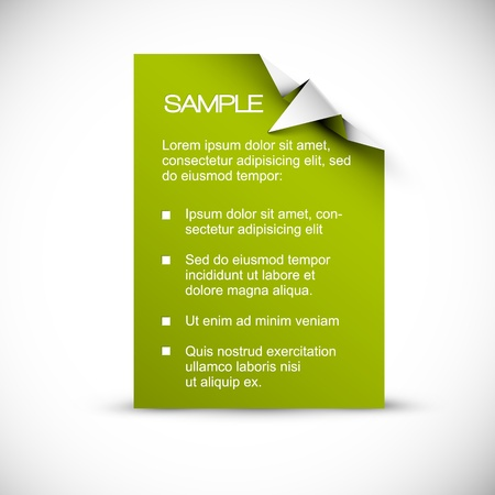 an illustration promoting: Vector Green Paper card (template) with origami white corner as an arrow pointing to the content Illustration