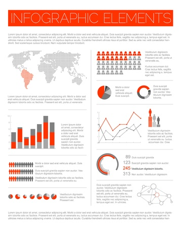Big Vector set of Infographic elements for your documents and reports (red version) Vector