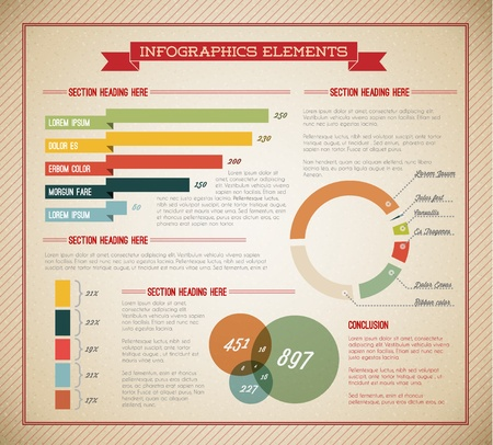 pie diagrams: Big Vector set of Infographic elements for your documents and reports (light green version) Illustration