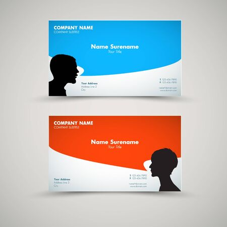 flexible business: Vector Set of modern business card templates for man and woman Illustration