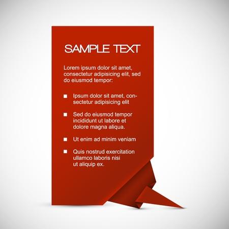 Vector rode papieren kaart (template) met origami hoek