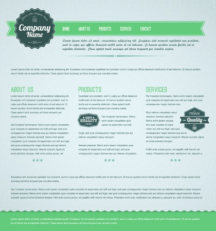 Retro vintage grunge web page template - green version Stock Vector - 12324859