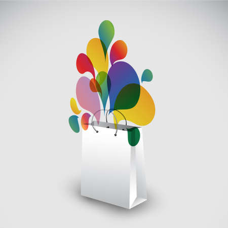 Exploding gift bag - Abstract vector illustration full of colors Vector