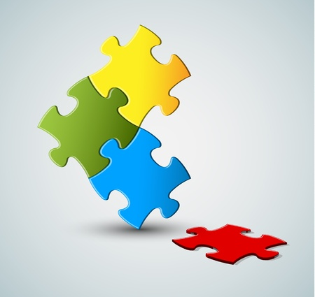 missing link: Abstract vector puzzle  solution background with one missing piece