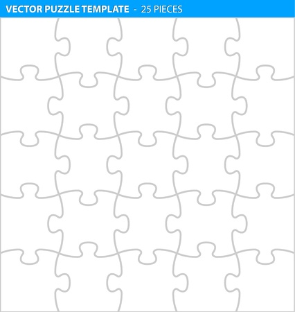 Complete puzzle  jigsaw template for print (25 pieces)