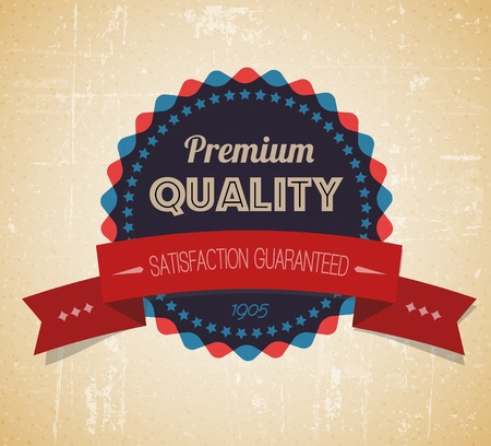 Old vector round retro vintage grunge label - premium quality Vector