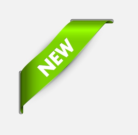 novelty: Green corner ribbon for a new item going through the background Illustration