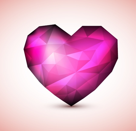 purple heart: Vector Purple Diamond jewel heart - Valentines element for a card