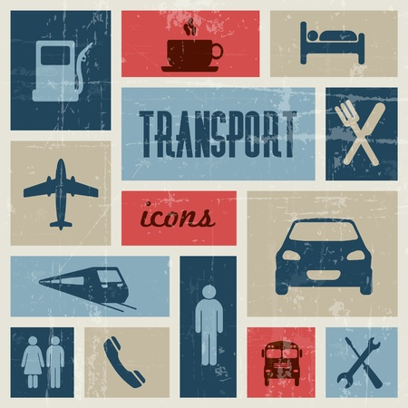 red bus: Vector vintage transport (traffic) poster - blue and red