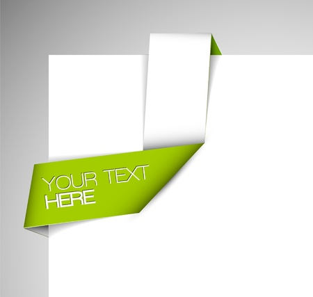 Vector green and white Paper origami ribbon / bookmark Stock Vector - 12324865