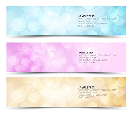 gloss banner: Set of sunny horizontal banners - blue, purple and orange