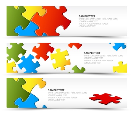 Set of puzzle horizontal banners - jigsaw or solution Vector