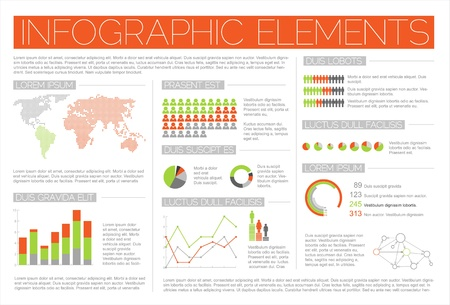 Big Vector set of Infographic elements for your documents and reports (red and green version) Vector