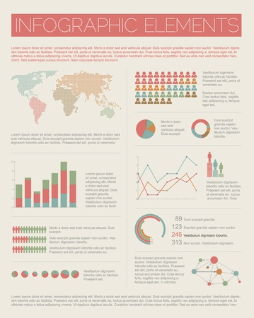 Big Vintage Vector set of Infographic elements for your documents and reports  Vector