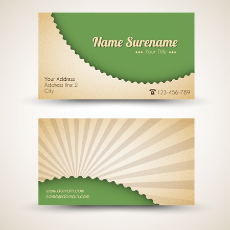 graphics card: Vector old-style retro vintage business card - both front and back side
