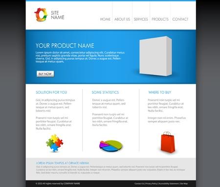 버전: 벡터 현대 제품 홈페이지 템플릿 - 블루 버전