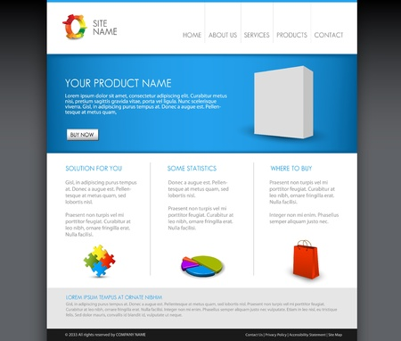 Vector Modern product homepage  template - Blue version Ilustracja