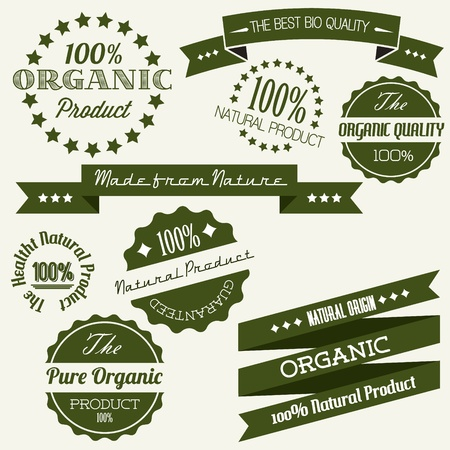 used items: Old dark green retro vintage elements for organic natural items Illustration