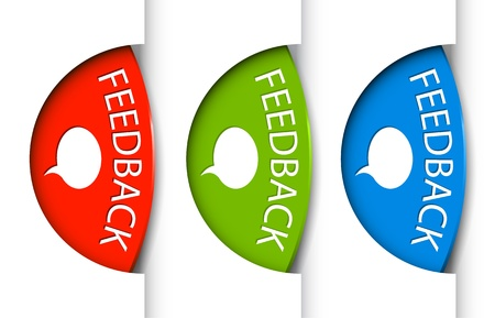 Feedback tabs on the edge of the (web) page - red, green and blue Stock Vector - 12488348