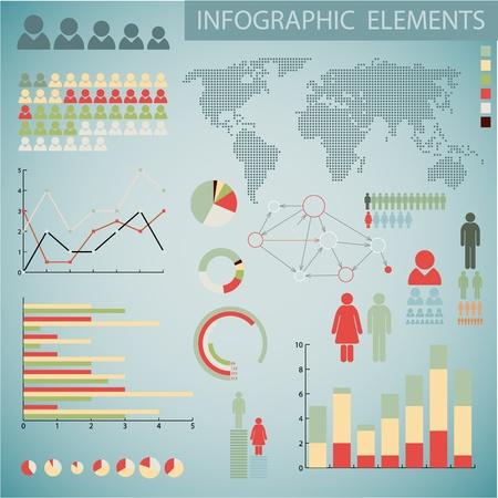 onderzoek: Grote Vintage set van Infographic elementen voor uw documenten en rapporten Stock Illustratie