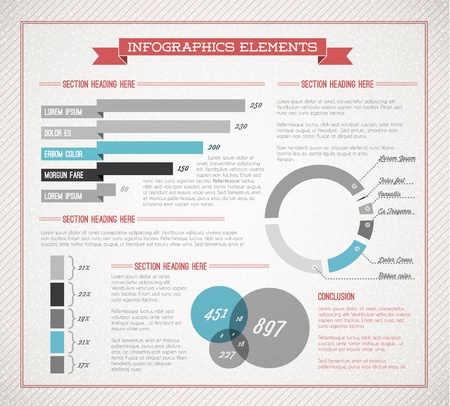 Blue retro  vintage set of Infographic elements for your documents and reports  Vector