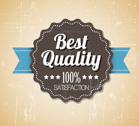 Old round retro vintage grunge label - best quality Vector