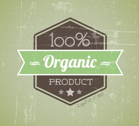 used items: Old retro vintage grunge label for bio  organic product