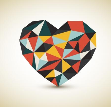 삼각형: 색 삼각형에서 만든 레트로 마음 일러스트