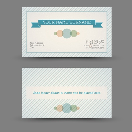 Old-style retro vintage business card front and back Vector