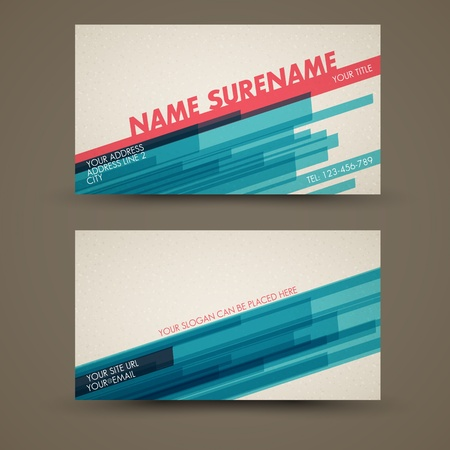Old-style retro vintage business card both front and back side Vector
