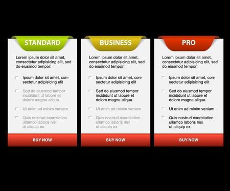 versions: Product versions comparison cards - with description