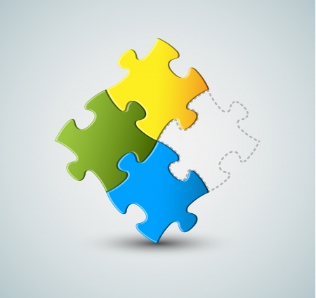 problem solving: Abstract puzzle solution background - missing piece