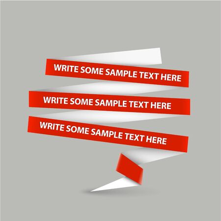 overlay: Red speech bubble made from paper stripe with sample content