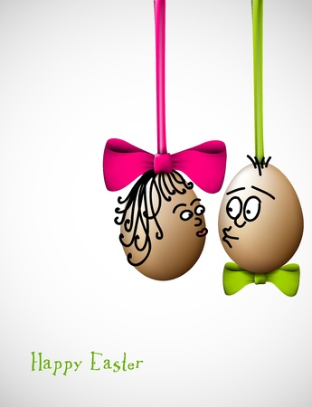 raw egg: Funny easter eggs with a bow - Happy Easter Card Illustration