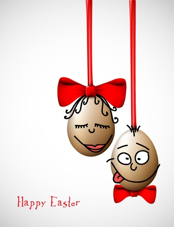 natural face: Funny easter eggs with a bow - Happy Easter Card Illustration