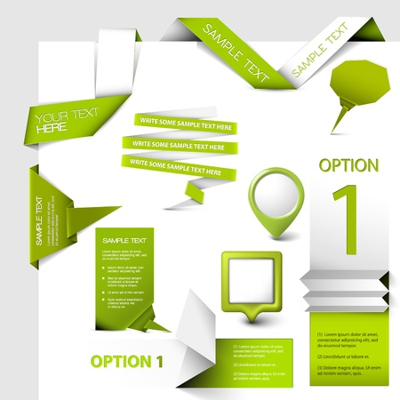 Set of green web elements Vector