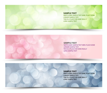 gloss banner: Set of sunny horizontal banners - green, purple and blue