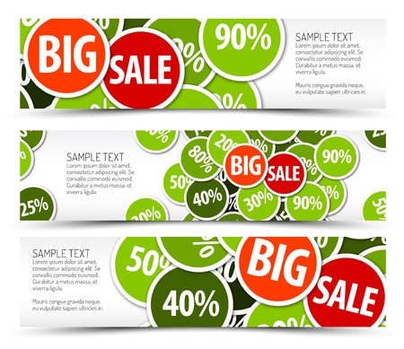 big sale: Set of spring horizontal banners - with place for your text