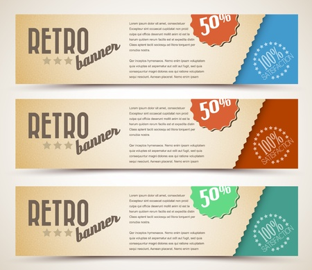 banner ads: Set of retro horizontal banners - with place for your text Illustration