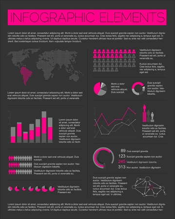 Big set of Infographic elements for your documents and reports (purple and black version) Vector