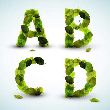 green leafs: Alphabet letters made from fresh green leafs