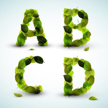 tipos de letras: Las letras del alfabeto a base de frescas hojas verdes